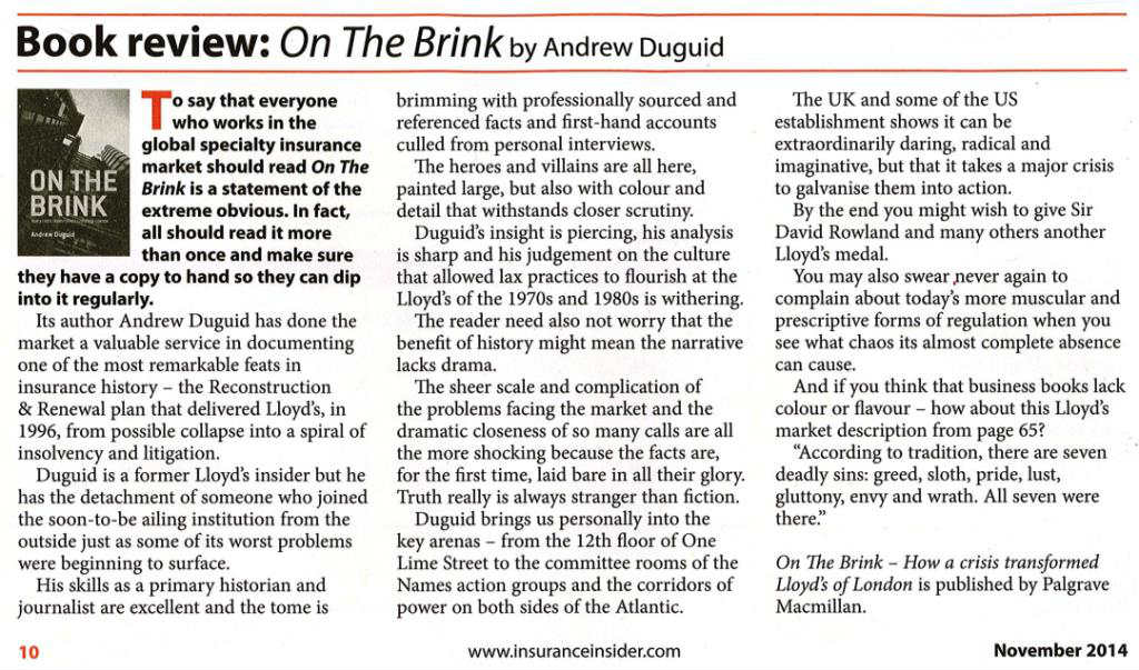 Insurance Insider review of On The Brink